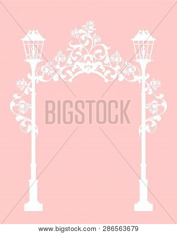 Streetlights Among Rose Flowers Making A Floral Arch Passage - Wedding Invitation White Silhouette V