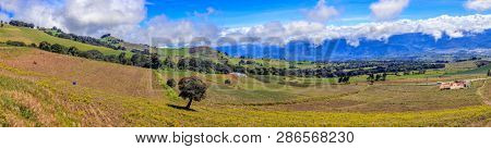 Panoramic view of rural landscape of Cartago Provice in Costa Rica
