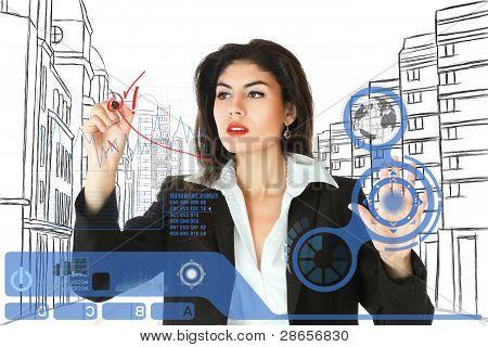 young Businesswoman arbeiten auf Touchscreen