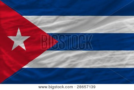 Complete Waved National Flag Of Cuba For Background