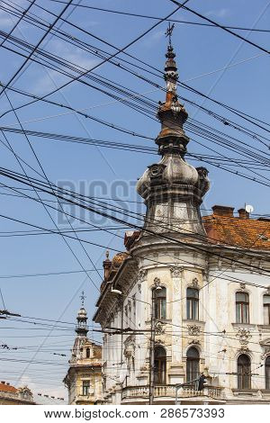 Cluj-napoca. Romania. 1. 05. 2014. View Of The Street. Old Biuldings In The City.