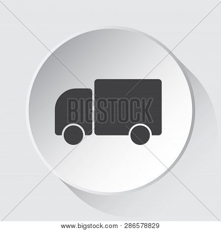 Lorry Car - Simple Gray Icon On White Button With Shadow In Front Of Light Gray Square Background