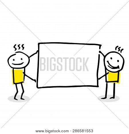 Two Stick Figures Holding A Blank Board.