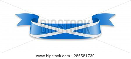 Scotland Flag In The Form Of Wave Ribbon.