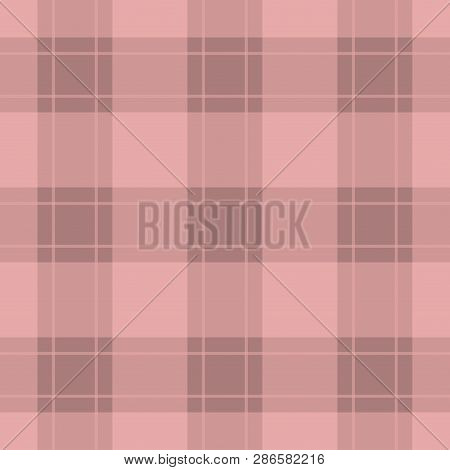 Seamless Pattern, Tablecloth - Pastel Dark And Bright Pink, Red Tartan With Pink, Red Stripes
