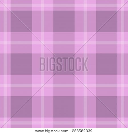 Seamless Pattern, Tablecloth - Pastel Dark And Bright Violet, Pink Tartan With White Stripes