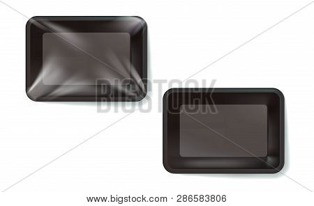 Mockup Black Realistic Plastic Food Container Wrapped By Polyethylene And Without The Wrapper. Vecto