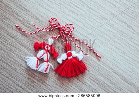 Bulgarian Traditional Spring Decor Martenitsa, Wooden Background. Baba Marta Holiday, Backdrop.