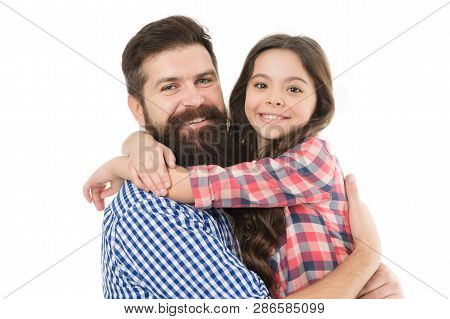 Best Dad Ever. Father And Daughter Hug White Background. Child And Dad Best Friends. Friendly Relati