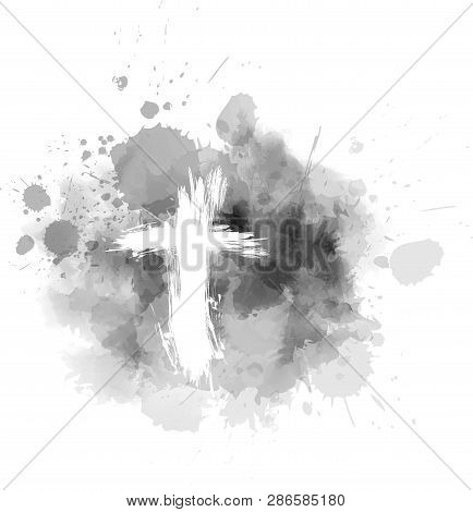 Ash Wednesday - Christian Religious Holiday. Grunge Cross On Gray Abstract Ash Background.