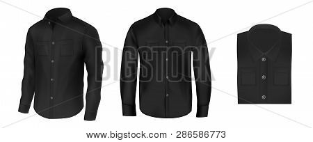Vector Set Of Black Shirts For Men, Front View. Atelier, Boutique, Wardrobe Realistic Fashion Clothe