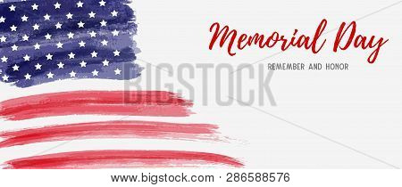 Usa Memorial Day Background. Remember And Honor. Abstract Grunge Brushed Flag With Text. Template Fo