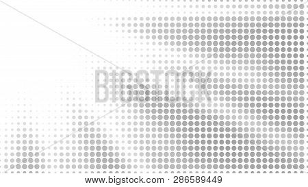 Halftone Gradient Sun Rays Pattern. Abstract Halftone Vector Dots Background. Monochrome Dots Patter