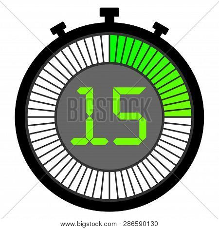 Electronic Stopwatch With A Gradient Dial Starting With Green. 15 Seconds