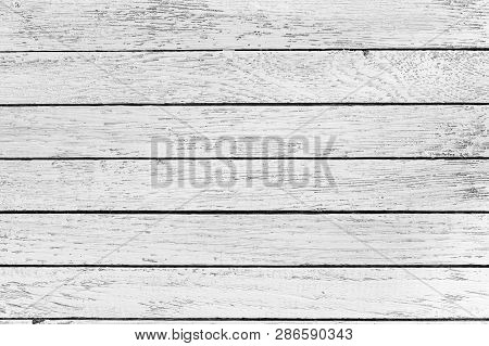 Horizontal White Wooden Table Background. Top View. Copy Space.