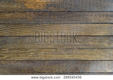 Horizontal Wooden Table Background. Top View. Copy Space.