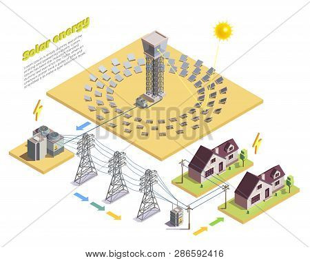 Green Energy Production And Consumption Isometric Composition With Solar Power Station High Voltage