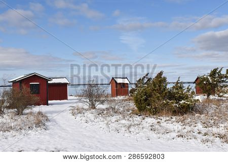 Beautiful Old Fishing Cabins By Farjestaden At The Swedish Island Oland
