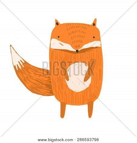 Cute Childish Hand Drawn Orange Fox Illustration Isolated On White Background. Kids Sketchy Foxy Cha