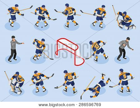 Ice Hockey Isometric Icons Set With  Defensing Players Forwards Goaltender Goalie Puck Referee On Ri
