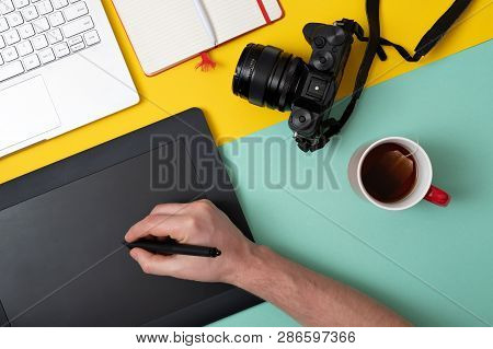 Designer Using Graphic Tablet In Digital Work And Photo Editing,