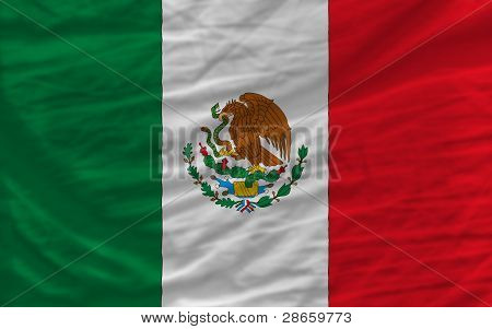 Complete Waved National Flag Of Mexico For Background