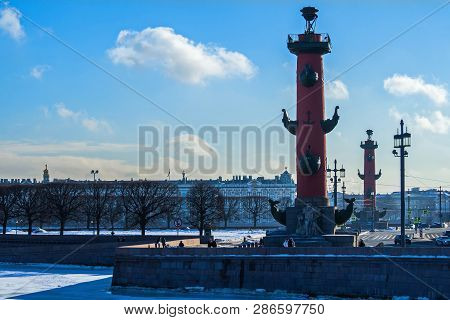View Of The Spit Of Vasilievsky Island. February In St. Petersburg.