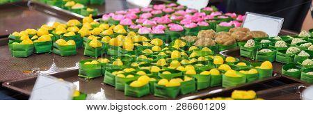 Traditional Thai Sweet Snack Dessert Cuisine From Egg Yolks, Met Khanoon (golden Jackfruit Seeds, Mu