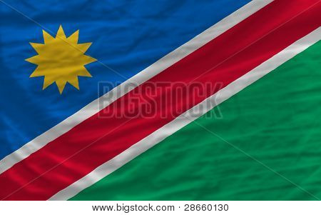 Complete Waved National Flag Of Namibia For Background
