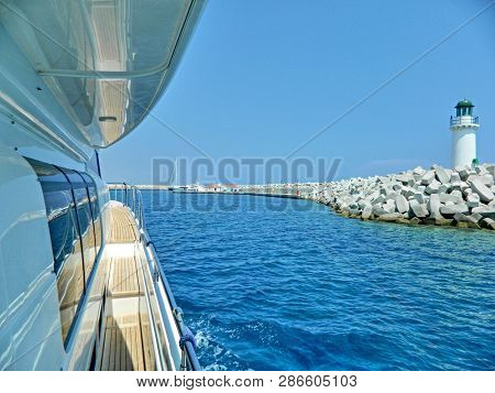 Large Private Motor Yacht In Modern Style On Light Background. Travel Background. Luxury Cruise. Sum