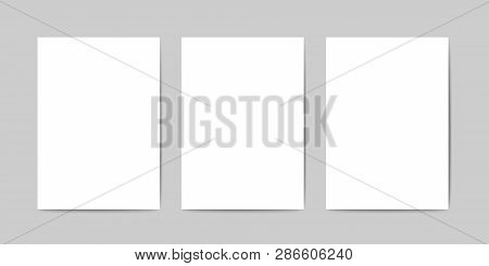 Three Blank A4 Sheets Vector Template. Realistic A4 Paper On A Gray Surface With A Realistic Shadows