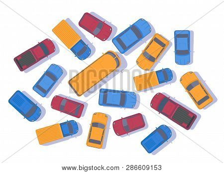 Traffic Jam. Large Congestion Of Cars. Top View