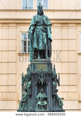 Prague, Czech Republic. Bronze Statue Of The Czech King Of Bohemia And The First King To Also Become