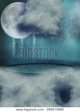 Fantasy Landscape In The Sky With Pool