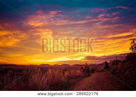 A Trail Through The Desert Of The American Southwest In Arizona Looking At A Colorful Sunset With Cl