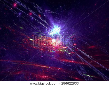 Stars And Spiral Galaxy - Outer Space. Abstract Computer Generated Blue And Purple Image. Fractal Ar