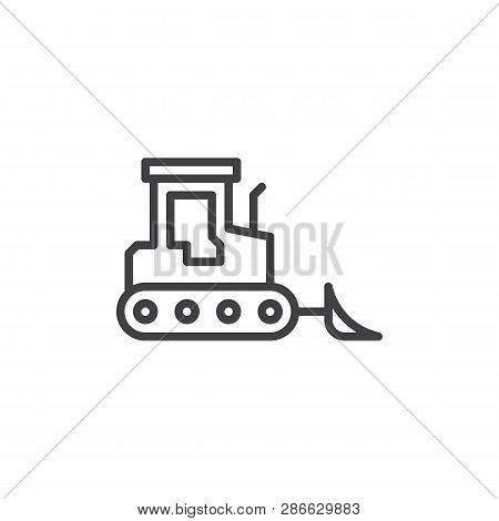 Bulldozer truck line icon. linear style sign for mobile concept and web design. Crawler outline vector icon. Construction machine symbol, logo illustration. Pixel perfect vector graphics poster