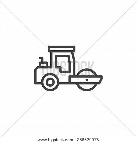 Road Roller Line Icon. Linear Style Sign For Mobile Concept And Web Design. Steamroller Truck Outlin