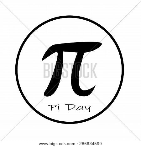 Happy Pi Day Icon On White Background. Flat Style. Pi Day Icon For Your Web Site Design, Logo, App,