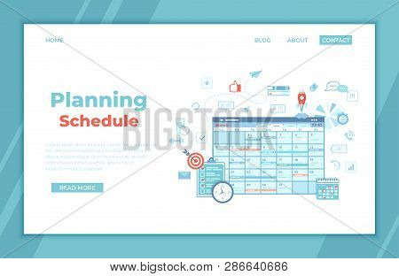 Planning Schedule Online Web Page Interface Planner, Organizer, Calendar, Project Plan With Tasks An