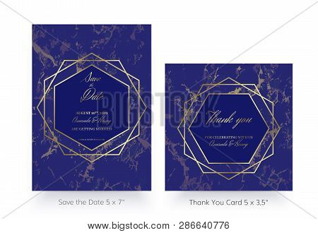 Invitation Card Template. Save The Date And Thank You Cards. Geometric Design Of Gold And Marble. Lu