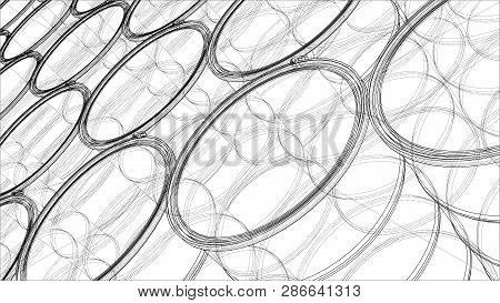 Group Of Oil Barrels Outline. Vector Rendering Of 3d. Wire-frame Style. The Layers Of Visible And In