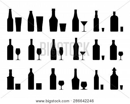 Alcohol Drinks Set Silhouette. Bottles With Glasses. Vodka Champagne Wine Whiskey Beer Brandy Tequil