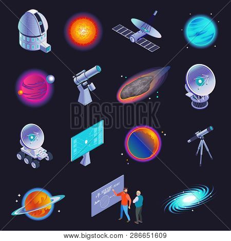 Astrophysics Isometric Icons With Radio Telescope Spiral Galaxy Stars Planets Comet Scientists Formu