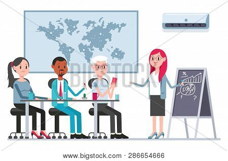 Teamwork Concept Illustration With Coworkers And Woman Boss In Boardroom. Vector Cartoon Business Pe
