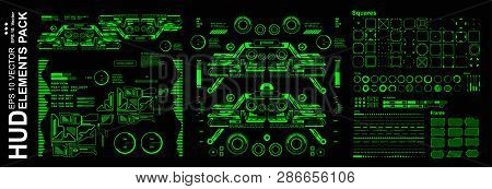 Hud Elements Mega Set Pack. Dashboard Green Display Virtual Reality Technology Screen.