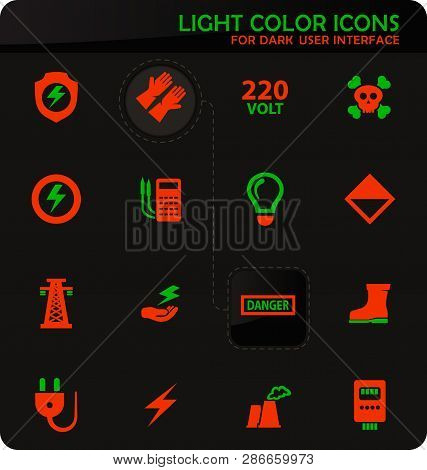 High Voltage Easy Color Vector Icons On Dark Background For User Interface Design