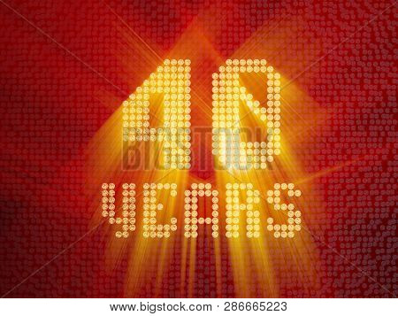 Golden Number Forty Years (number 40 Years) Dotted Font, Top View, With Light Rays. 3d Render