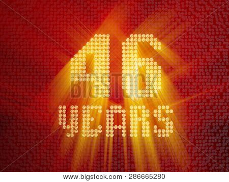 Golden Number Forty-six Years (number 46 Years) Dotted Font, Top View, With Light Rays. 3d Render