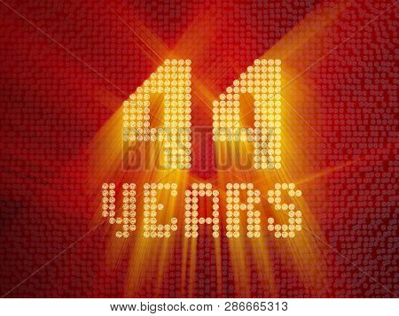 Golden Number Forty-four Years (number 44 Years) Dotted Font, Top View, With Light Rays. 3d Render